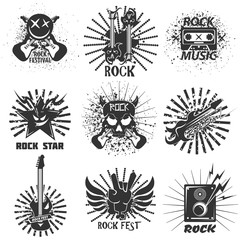 Rock band festival icons, skull and guitar vector emblems templates