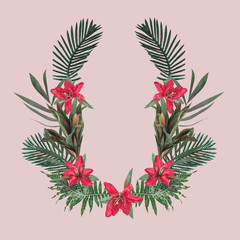 Creative hipster tropical background with copy space on blush background. Greenery concept.