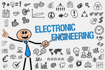 Electronic Engineering / Mann mit Symbole