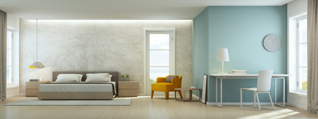 Wall Mural - Sea view bedroom and living room in luxury beach house, Modern interior of home office - 3D rendering