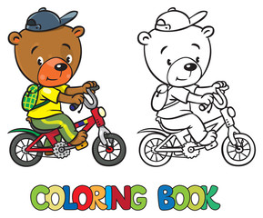 Coloring book of little funny bear on bicycle