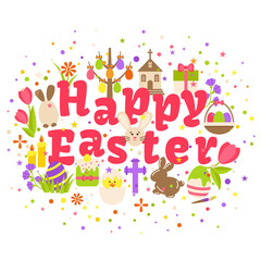 Wall Mural - Happy easter label isolated on white background. Ostern spring celebration card element vector illustration