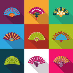 Folding paper chinese hand fan set flat icons vector illustration