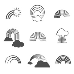 Wall Mural - Vector black and white rainbow icons. Summer rainbows signs isolated on background
