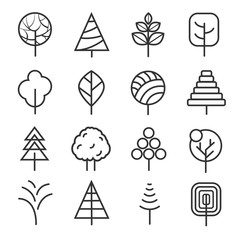 Wall Mural - Simple contour lines trees. Vector nature plants and  thin line icons isolated on white background