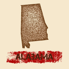 Alabama distressed map. Grunge patriotic poster with textured state ink stamp and roller paint mark, vector illustration.