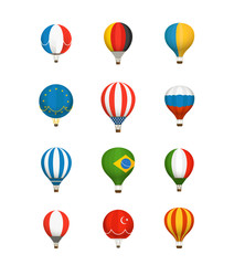 Different color baloons vector collection. National flags