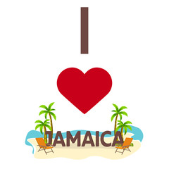 I love Jamaica. Travel. Palm, summer, lounge chair. Vector flat illustration.