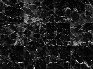 Black tiles marble textures background.  detailed structure of marble in natural patterned for background and design.