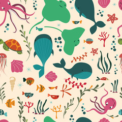 Seamless pattern with underwater ocean animals, whale, octopus, stingray, jellysfish