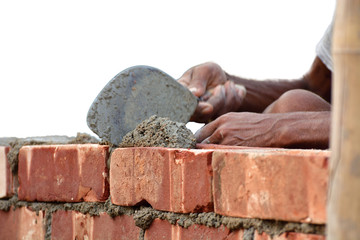 To build up a brick wall with trowel on isolated white