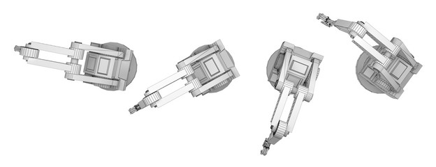 sequence robotic arm isolated on white 3d rendering