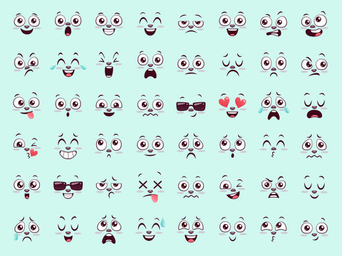 Set of cute animal emojis. Forty eight funny face expressions for your designs. Vector illustration.