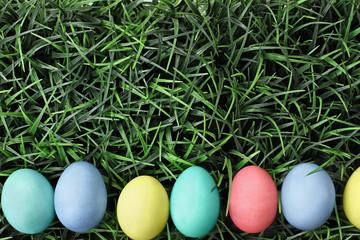Easter Eggs Lying in Grss