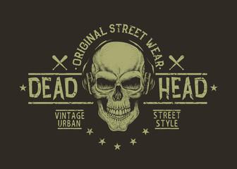Street style label of skull.Prints design