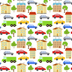 Seamless pattern with elements of the city, cars, houses and trees