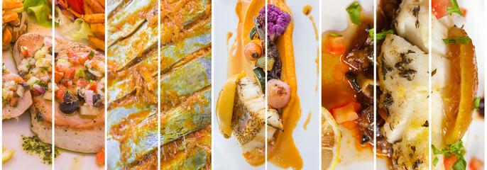 assemblage de plats cuisinés à base de poissons