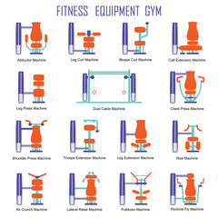 Set of gym equipment machines silhouettes isolated on white