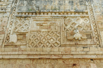 Mayan reliefs in the quadrangle of the nuns in the archaeological Uxmal enclosure in Yucatan, Mexico.