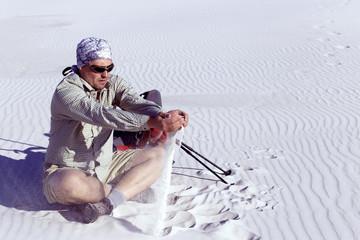 The journey in the desert on the white dunes.