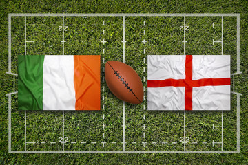 Ireland vs. England flags on rugby field