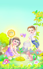 Boy and girl growing plants