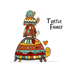 Funny family, turtle with chidren, sketch for your design
