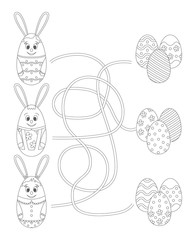 Coloring page. Easter Maze Game for Kids: Help the bunnies find the eggs.