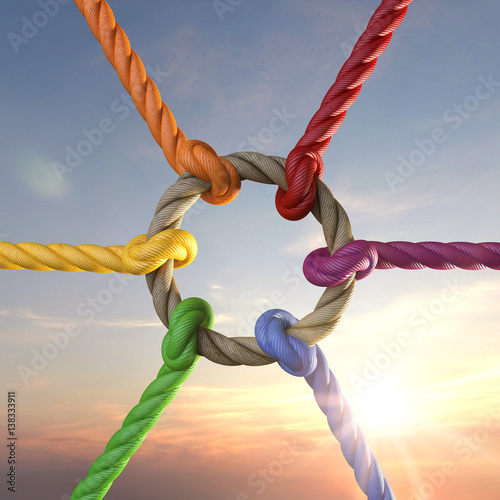 Seile Mit Knoten Als Symbol Für Zusammenhalt Stockfotos Und