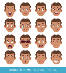 Set of male facial emotions. Black man emoji character with different expressions. Vector illustration in cartoon style.