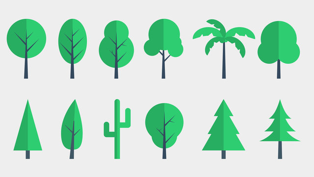 Tree Icons Flat Design