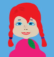 Doll-girl with blue-green eyes and long braids red hair