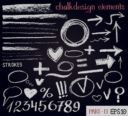 Chalk texture design elements. Set of chalk figures, arrows, strokes, lines, stripes, strokes, round frames on black board. Hand drawn sketch.