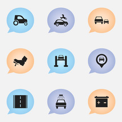 Set Of 9 Editable Vehicle Icons. Includes Symbols Such As Treadle, Race, Accumulator And More. Can Be Used For Web, Mobile, UI And Infographic Design.