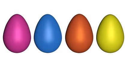 3d-Illustration, Eier in kräftigen Fraben isoliert