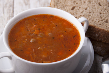 Soup with green lentils and vegetables