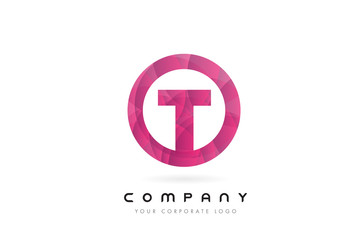 T Letter Logo Design with Circular Purple Pattern.