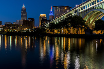 Cleveland, Ohio Skyline and Cuyahoga River at Sunset