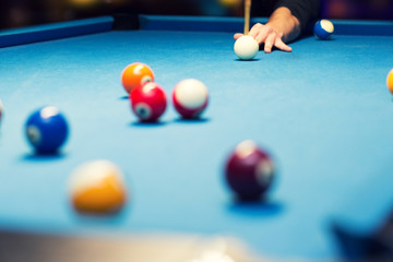 pool billiard, hand aiming the cue ball