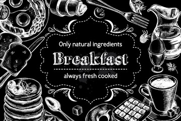 Traditional breakfast. Composition of hand drawn food elements: English breakfast, coffee, pancakes, toast, waffle. Vector illustration. Menu or signboard template for bakery and cafe.