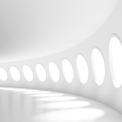White Futuristic Tunnel with Windows. Building concept Background