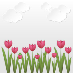 Paper art tulips Pink paper tulips on white background with clouds Paper art style