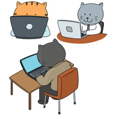 vector set of cat office worker