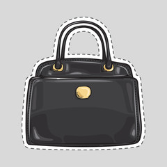 Ladies Handbag with Handle and Clips Isolated