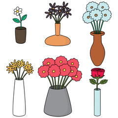 vector set of flower vase