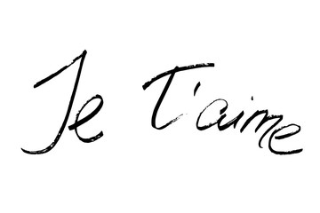 French phrase I love you. Handwritten black text on white background, vector. Each word is on the separate layer