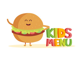 Kids Menu funny 3d sign with burger characters