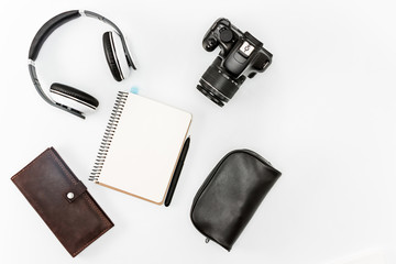 Still life of casual man. Modern male accessories and laptop
