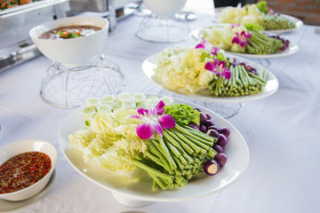 Many kind of vegetable on table for party