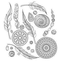 Vector Monochrome Set of Tribal Decorative Objects